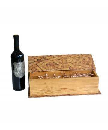 Cutie cadou tip carte pentru o sticla de vin cu model de dopuri