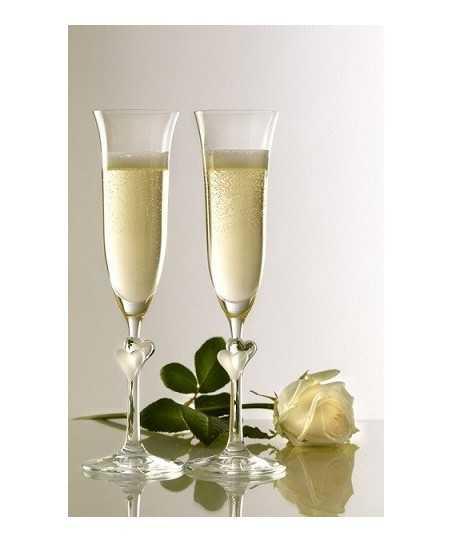 Set 2 pahare Fluta sampanie cu inimioara alba, L'amour 175 ml