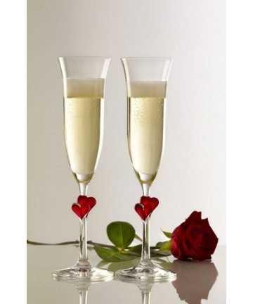 """Pahar Fluta sampanie cu inimioara """"rosie"""", L'amour 175 ml"""