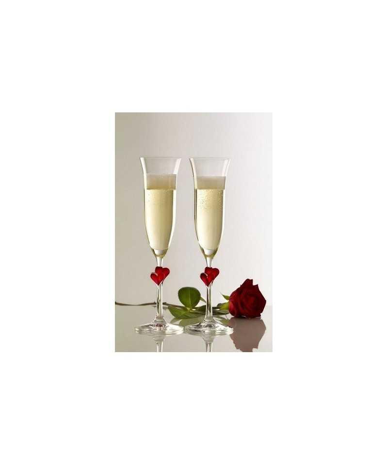 Set 2 pahare Fluta sampanie cu inimioara rosie L'amour 175 ml-LIFE STYLE TIPS SRL