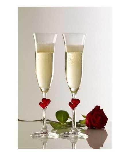 Set 2 pahare Fluta sampanie cu inimioara rosie L'amour 175 ml